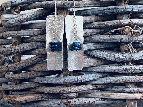 Hammered Bar Sapphire Sterling Silver Earrings