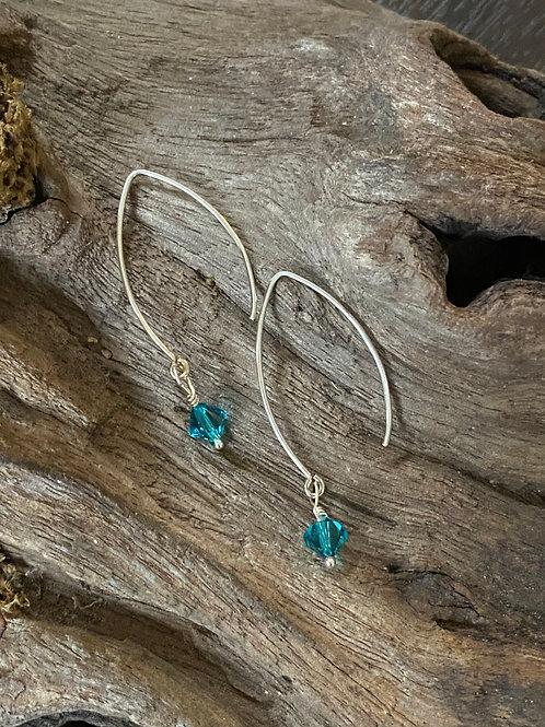 December Blue Zircon Swarovski Crystal & 925 SS Long Birthstone Earrings
