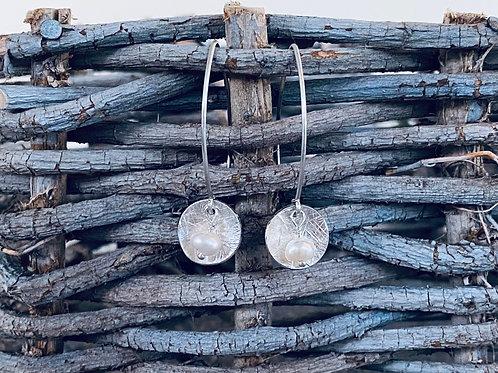 Hammered Disk Freshwater Pearl & Sterling Silver Earrings