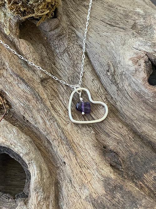 February Amethyst Gemstone & Sterling Silver Smooth Heart Birthstone Necklace