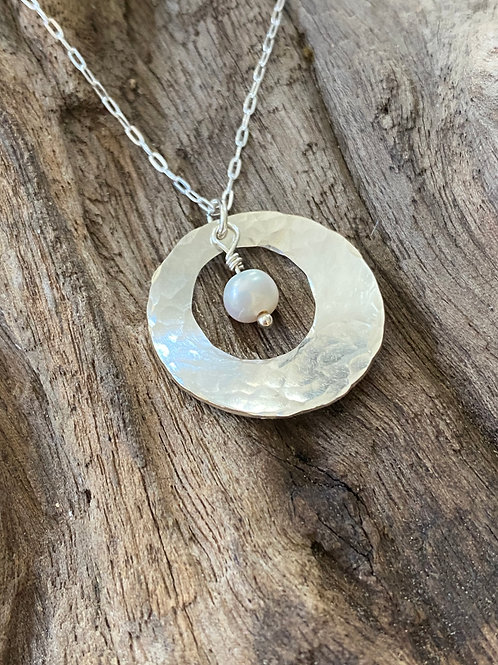 June Freshwater Pearl & Sterling Silver Disk Birthstone Necklace