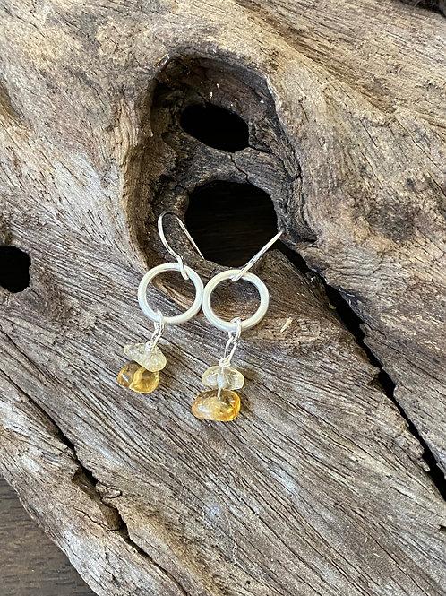 Birthstone circle earrings November - Sterling silver, Citrine Gemstone