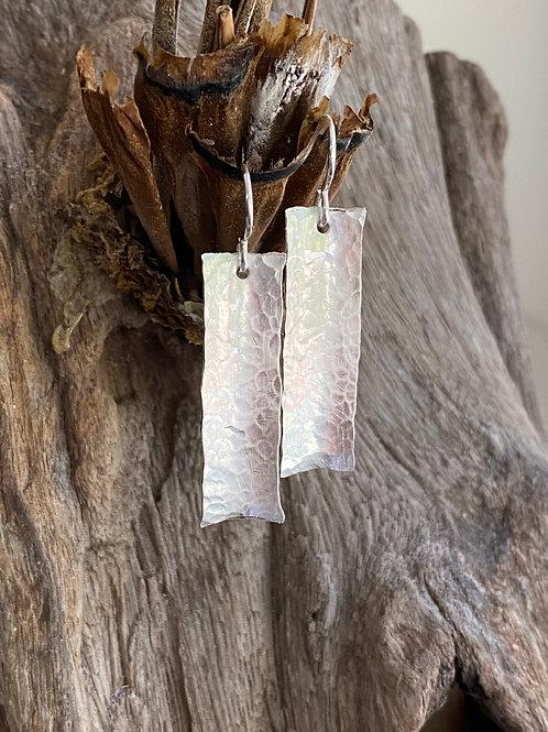 Hammered Bar Sterling Silver Earrings