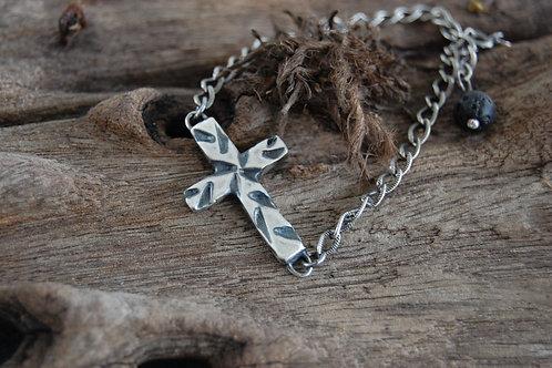 Cross bracelet black lava stone - Sterling silver