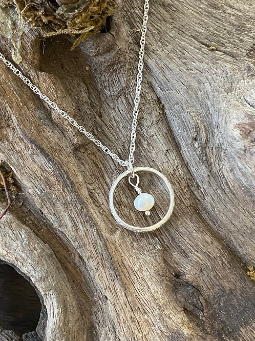 June Freshwater Pearl & Sterling Silver Textured Circle Birthstone Necklace