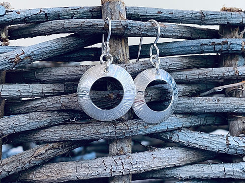 Hammered Small Sterling Silver Open Circle Disk Earrings
