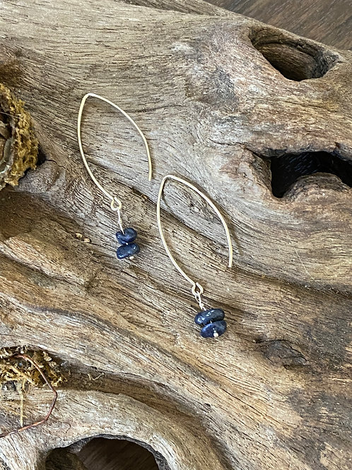 Birthstone long earrings September - Sterling silver, Sapphire Gemstone