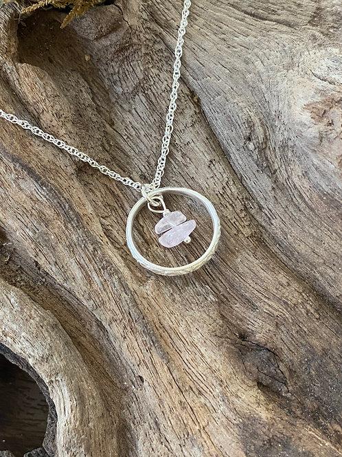 Birthstone pattern circle necklace October-Sterling silver, Rose Quartz Gemstone