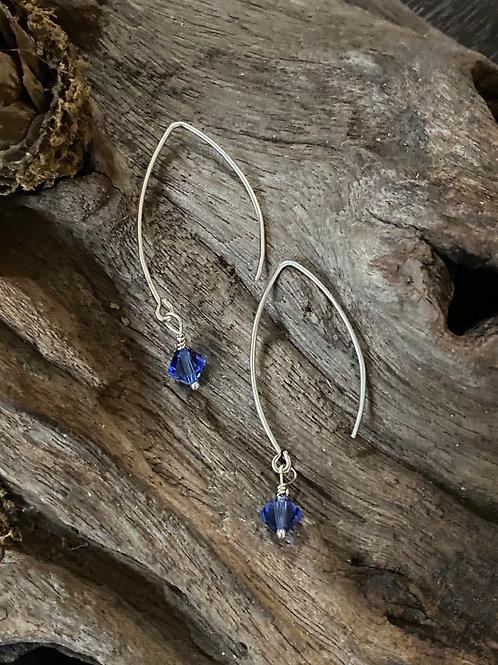 Birthstone long earrings September - Sterling silver, Sapphire Swarovski Crystal