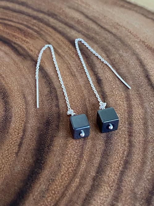 Hematite & Sterling Silver Long Chain Earrings