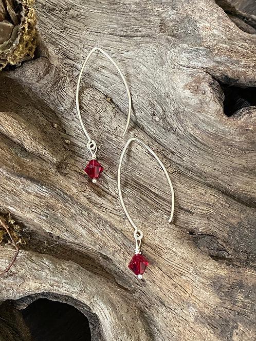 January Garnet Swarovski Crystal & Sterling Silver Long Birthstone Earrings