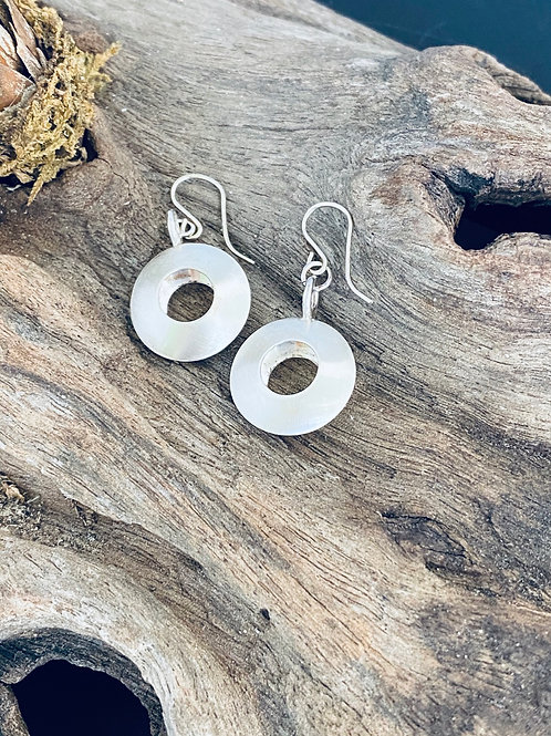 Convex Open Disk Sterling Silver Earrings