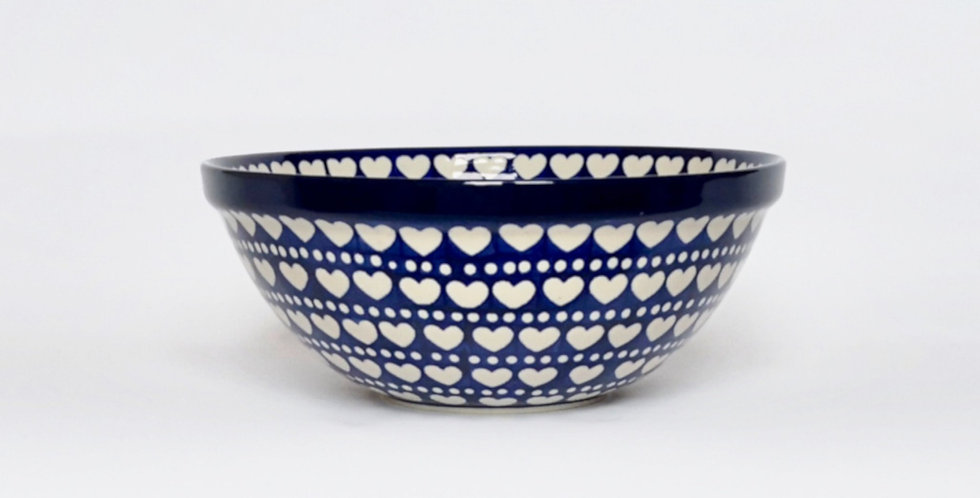 Medium Serving Bowl in Hearts and Dots 24cm