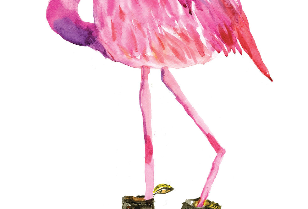 Flamingo in Boots Print