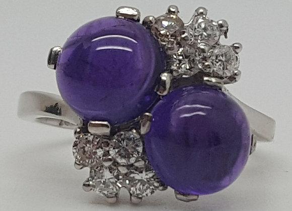 Amethyst & Diamond Platinum Ring