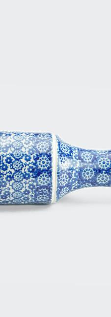Rolling Pin blue trellis flower