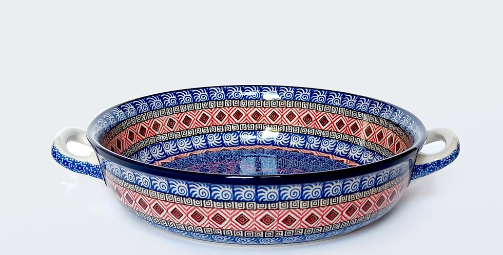 Large round baking dish with handles in Maroc 31.5x26cm