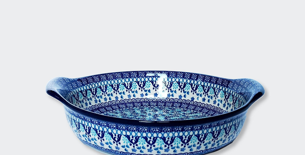 Large round baking dish with ears in Spring Blue 31.5x26cm
