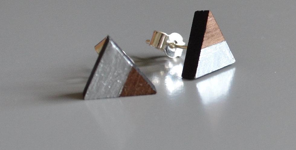 Silver Leaf Triangle Studs