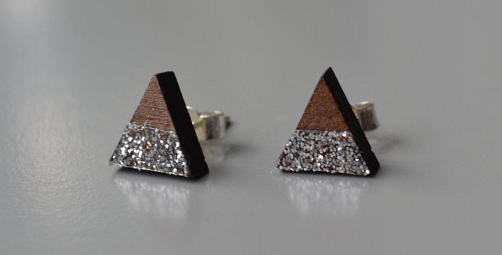 Silver Glitter Triangle Studs