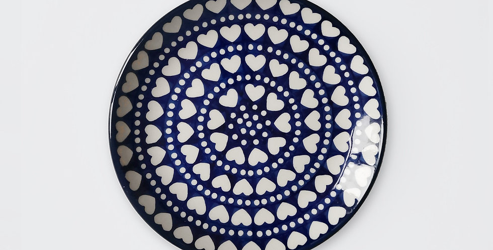 Breakfast Plate in Hearts and Dots 20cm