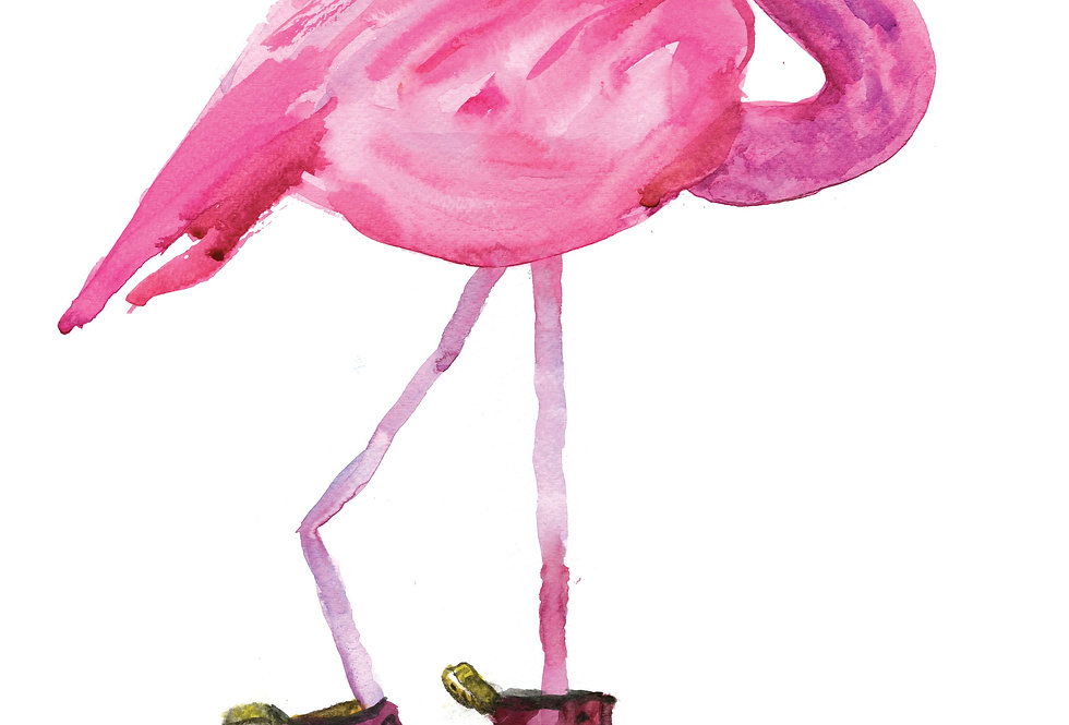 Flamingo in Red Boots Print