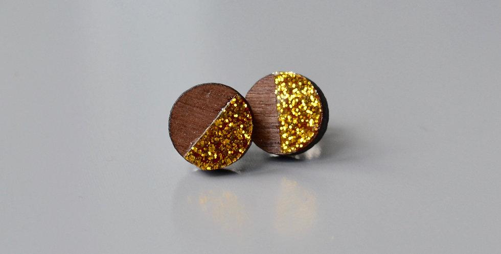 Gold Glitter Half Circle Studs