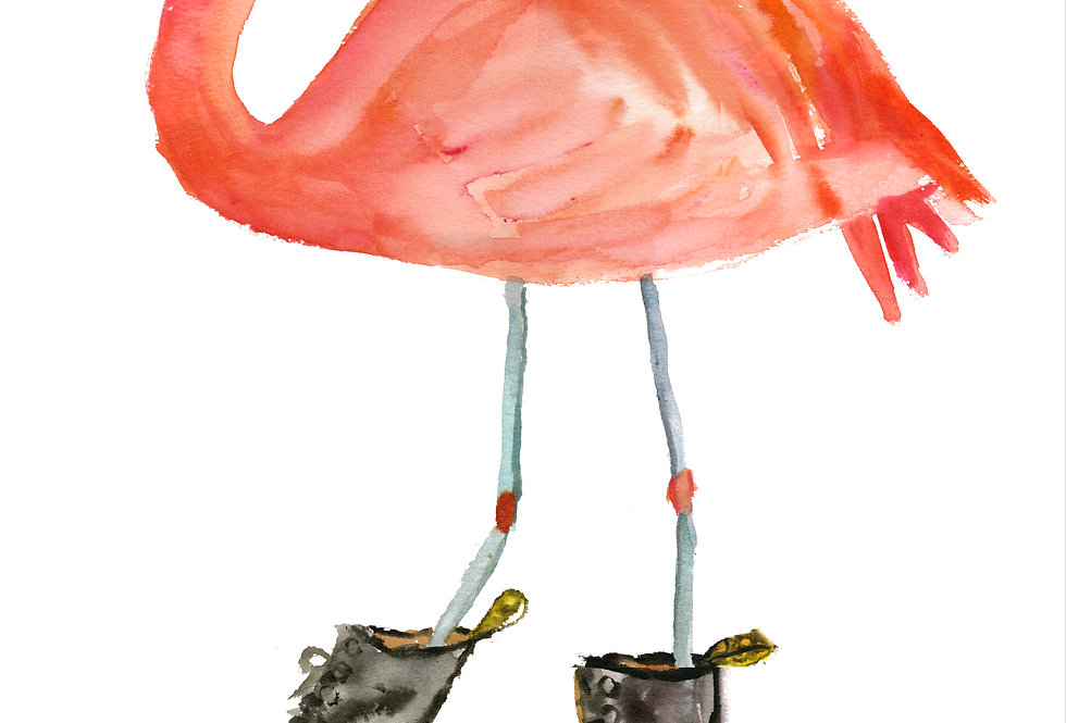 Flamingo in Boots 2 Print