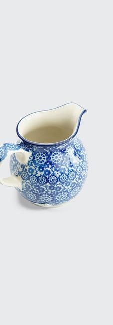 Cream jug blue trellis flower
