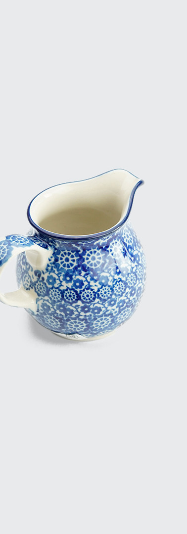 Cream jug blue trellis flower
