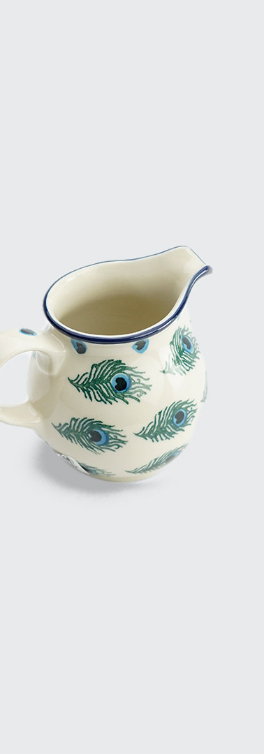 Cream jug peacock feather