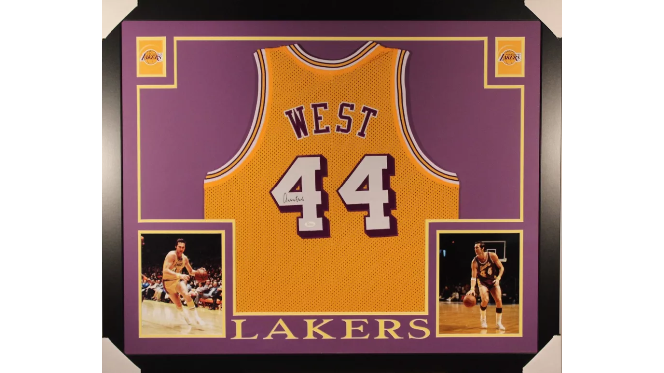 best service e62a8 2a0b6 Jerry West Signed and Framed Jersey - Lakers   memorabilia
