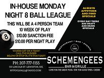 Schemengees InHouse 8 Ball League, Lewiston Me