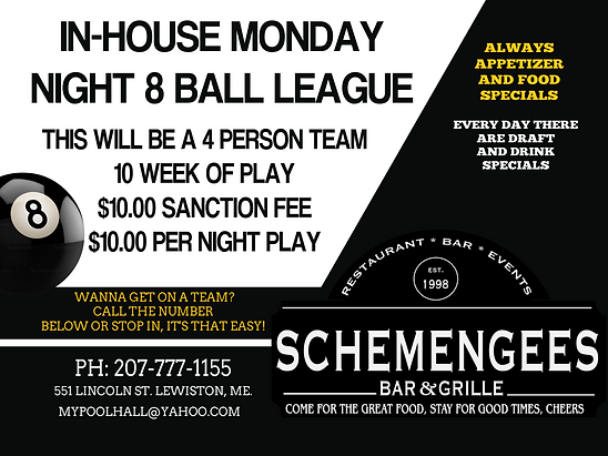 Schemengees Bar & Grille In house 8 Ball League