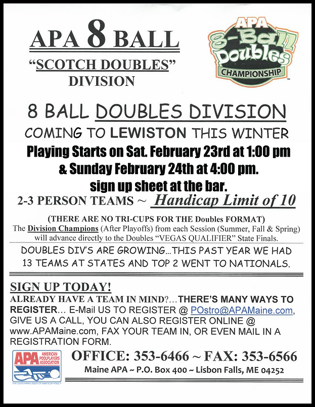 APA 8 Ball Scotch Doubles at Schemengees Bar & Grille Restaurant Lewiston Me