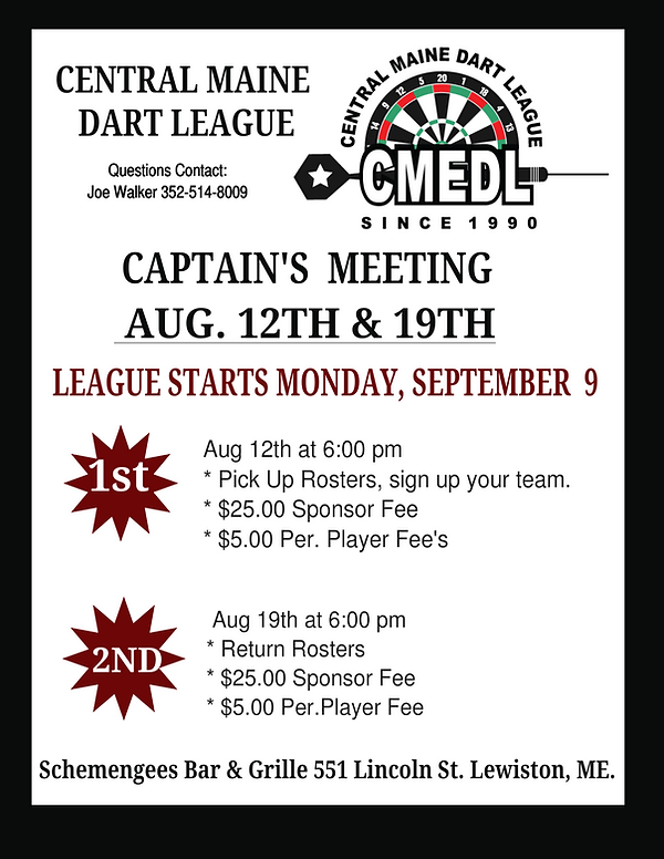 Central Maine Dart League Captain Meeting