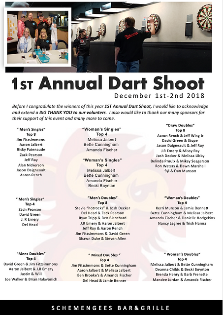 2018 Annual Dart Shoot out of Schemengees Bar & Grille, Lewiston Me