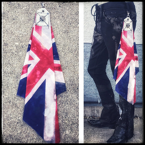 Custom distressed Rock & Roll Bandana with belt clip UK Flag
