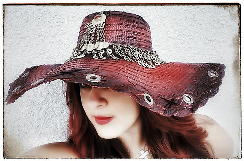 Custom Rocker Straw Gypsy Floppy Beach Boho hat Red and Bla with Kuchi hatband