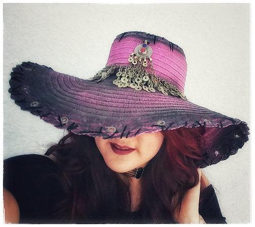 Custom Rocker Straw Gypsy Floppy Beach Boho hat Pink Black Kuchi hatband