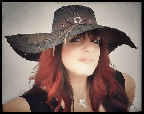 Custom Rocker Straw Gypsy Floppy Beach Boho hat Brown with Leather hatba