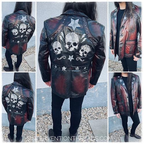 Custom up-cycled one-of-a-kind Vintage Leather Jacket Stars & Skulls