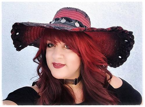 Custom Rocker Straw Gypsy Floppy Beach Boho hat Red and Black with Kuchi hatband