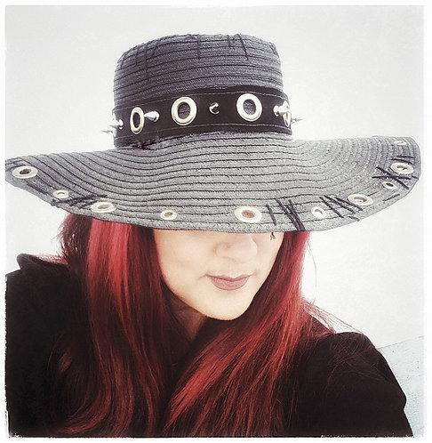 Custom Rocker Gypsy Floppy Beach Boho hat  Black spike hatband