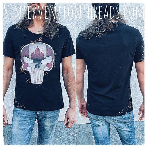 Distressed Vintage upcycled T-Shirt 'Buckshot' design Punisher Canada