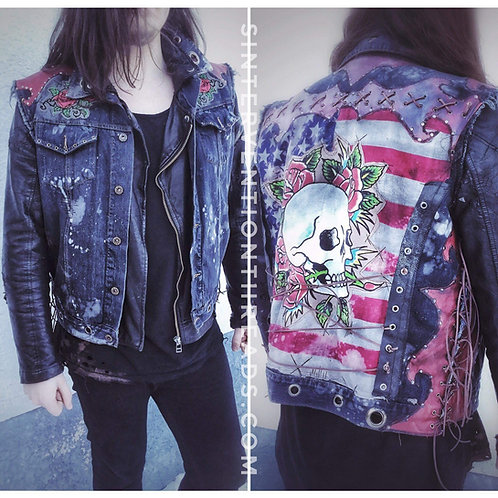 Skull& Roses Distressed Biker Denim Vest with leather