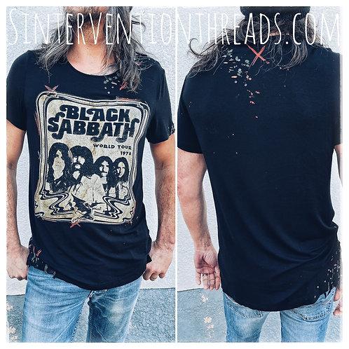Distressed Vintage upcycled T-Shirt 'Buckshot' design Black Sabbath