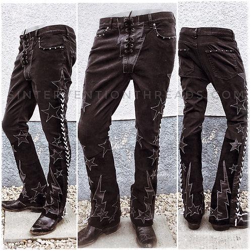 """BLACKSTAR* "" Custom Order Leather and Denim Stage Pants Streetwear"