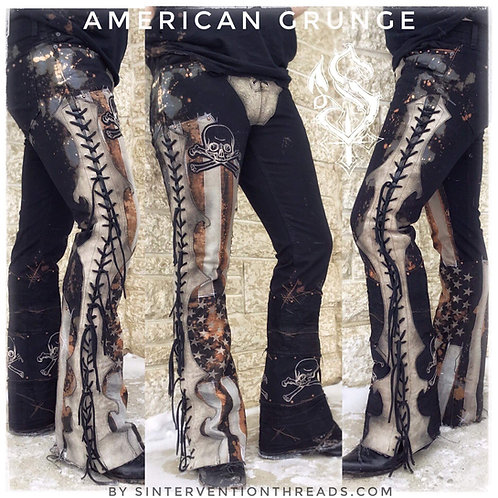 AMERICAN GRUNGE Custom Order stage pants distressed denim leather lace up