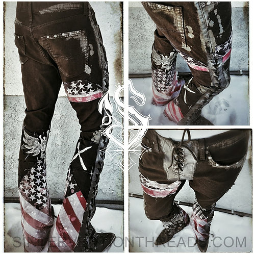 'American Pride' Custom Order Distressed leather lace-up jean Stage pants